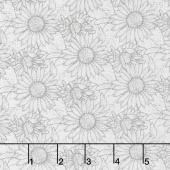 My Sunflower Garden - Outlined Sunflower White Yardage