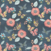 Monarch Grove - Flowers Blue Nights Digitally Printed Yardage