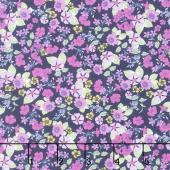Garden Delights - Impatiens Pink/Navy Yardage