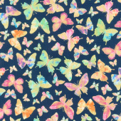 Watercolor Wishes - Butterfly Wishes Navy Metallic Yardage
