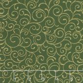 Cardinal Song Metallic - Scroll Evergreen Yardage