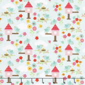 Bloom Where You're Planted - Birds Aqua Yardage