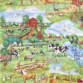 Down on the Farm - Farm Animal Country Multi Yardage