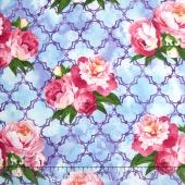 Peony Passion - Floral Lattice Blue Yardage