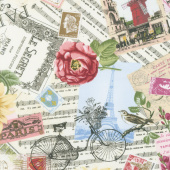 Novelty - Paris Post Cards and Sunflowers Multi Yardage