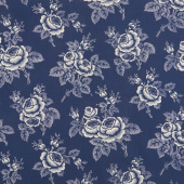 Abigail Blue - Large Floral Navy Yardage