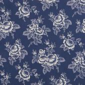 Abigail Blue - Large Floral Navy Yardage