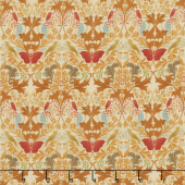 Voysey - Birds & Squirrels 1909 Amber Yardage