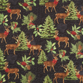Festive Forest - Large Allover Black Yardage