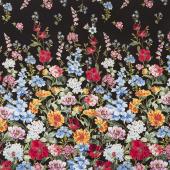 Field of Dreams - Wild Flower Border Black Yardage