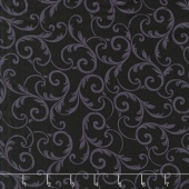 "Quilt Backs - Leaf Scroll Black 108"" Wide Backing"
