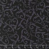 """Quilt Backs - Leaf Scroll Black 108"""" Wide Backing"""