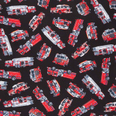 Fire & Rescue - Tossed Fire Trucks Black Yardage