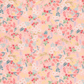 Flower Market - Wallpaper Light Coral Yardage