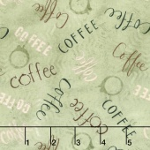 But First, Coffee! - Words Allover Teal Yardage