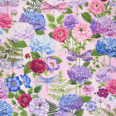 Dragonfly Garden - Hydrangea Bouquets Peony Pink Yardage