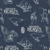 Wizarding World - Fantastic Beasts Logo & Creatures in Navy Metallic Yardage