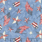 American Valor - Patriotic Toss Blue Yardage