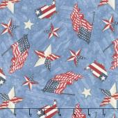 American Valor - Patriotic Toss Blue Yardage