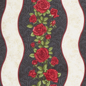 A Festival of Roses - Festive Roses Stripe Black Pearlized Yardage
