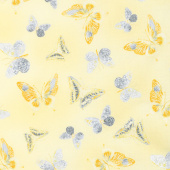 Limoncello - Butterflies Yellow Pearlized Yardage