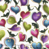 Cat - i - tude - Hearts and Cats White Multi Yardage