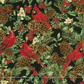 A Joyful Season - Cardinals And Pinecones Black Metallic Yardage