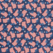 America, My Home - Flag and Star Toss Blue Yardage