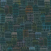Happy Place - Town Buildings Houses Night Digitally Printed Yardage