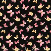 Pink Garden - Butterflies Allover Black Yardage