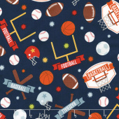 Game Day - Sports Main Navy Flannel Yardage