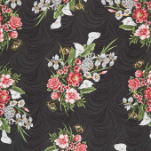 Magnificent Blooms - Bouquet Black Multi Yardage