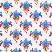Bluebonnet Patch - Texas Flag Bouquet Ivory Yardage