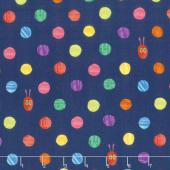 The Very Hungry Caterpillar - Bright Dots Dark Blue Yardage