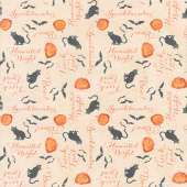 Haunted Night - Words Allover Tan Yardage