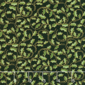 Festive Chickadee - Golden Leaf Scroll Black Metallic Yardage