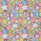 Color Fusion - Bouquet Charcoal Yardage