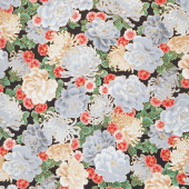 Imperial Collection 16 - Flowers Onyx Metallic Yardage