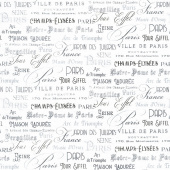 Ooh La La! - Paris Script White Black Yardage