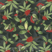 Festive Forest - Holly and Berries Black Yardage