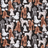 Dogs - Poodles Black Yardage