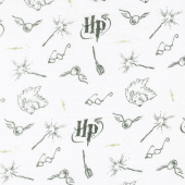 Cotton Muslin - Harry Potter Wizarding White Metallic Yardage