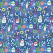 By Golly Get Jolly! - Words Blue Yardage