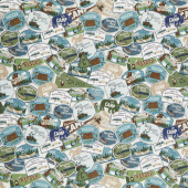 Gone Camping - Patches Teal Yardage