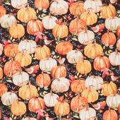 Autumn Day - Packed Pumpkins Black Yardage