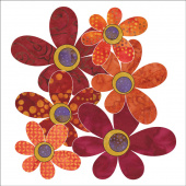 Bohemian Chic Fuchsia Daisies Fusible Appliqué Shapes