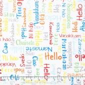 We Share One World - Words White Yardage