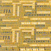 FFA Forever Blue - FFA Text Gold Yardage