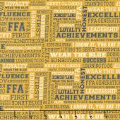 FFA Forever Blue - FFA Text Gold Yardage