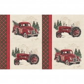 Vintage Christmas - Red Truck Placemat Digitally Printed Panel